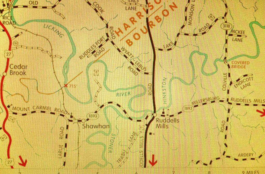 Map to Ruddells Mills and Colville Covered Bridge