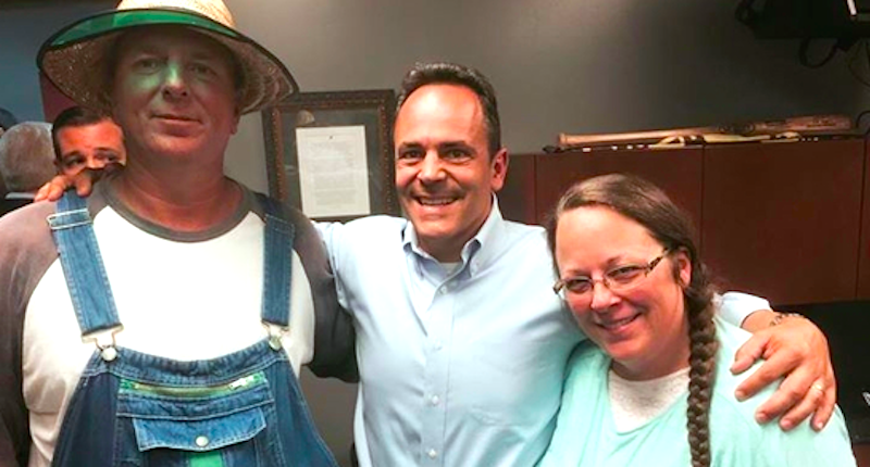 New Kentucky Governor Matt Bevin with Rowan County Clerk Kim Davis and her husband in September.