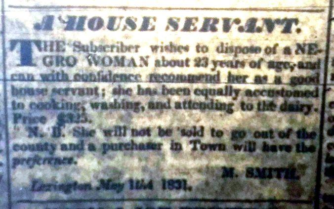 House Servant_Lexington Observer_May 14 1831