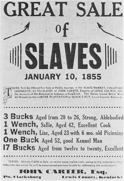 1855 Cheapside Slave Auction advertisement.