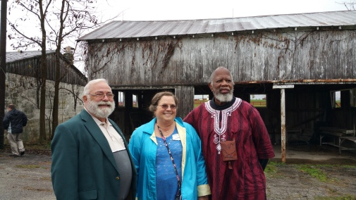 Jerry Gore with UK OLLI tour group members at the Charles Young birthplace, Mason County, Kentucky (November, 2015)
