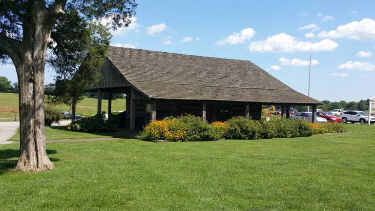 Side and back of the corn crib/mule barn.