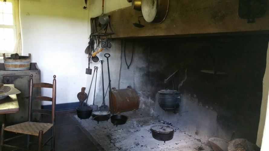 Stone kitchen. In smaller room on the right end. Built in 1790.
